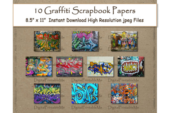 Graffiti Digital Paper Print 8.5 Graphic Crafts By DigitalPrintableMe