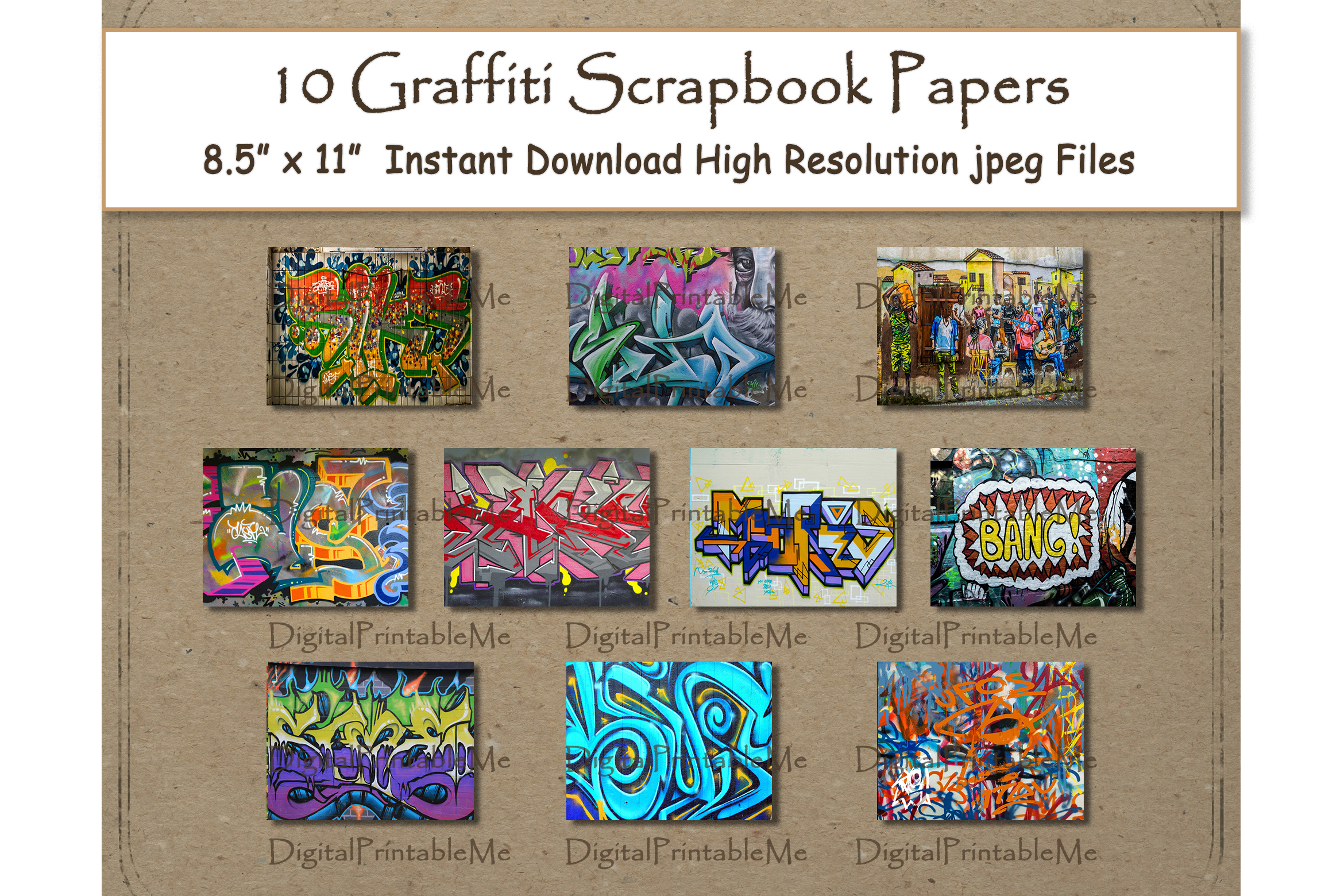 Download Free Graffiti Digital Paper Print 8 5 Graphic By Digitalprintableme for Cricut Explore, Silhouette and other cutting machines.