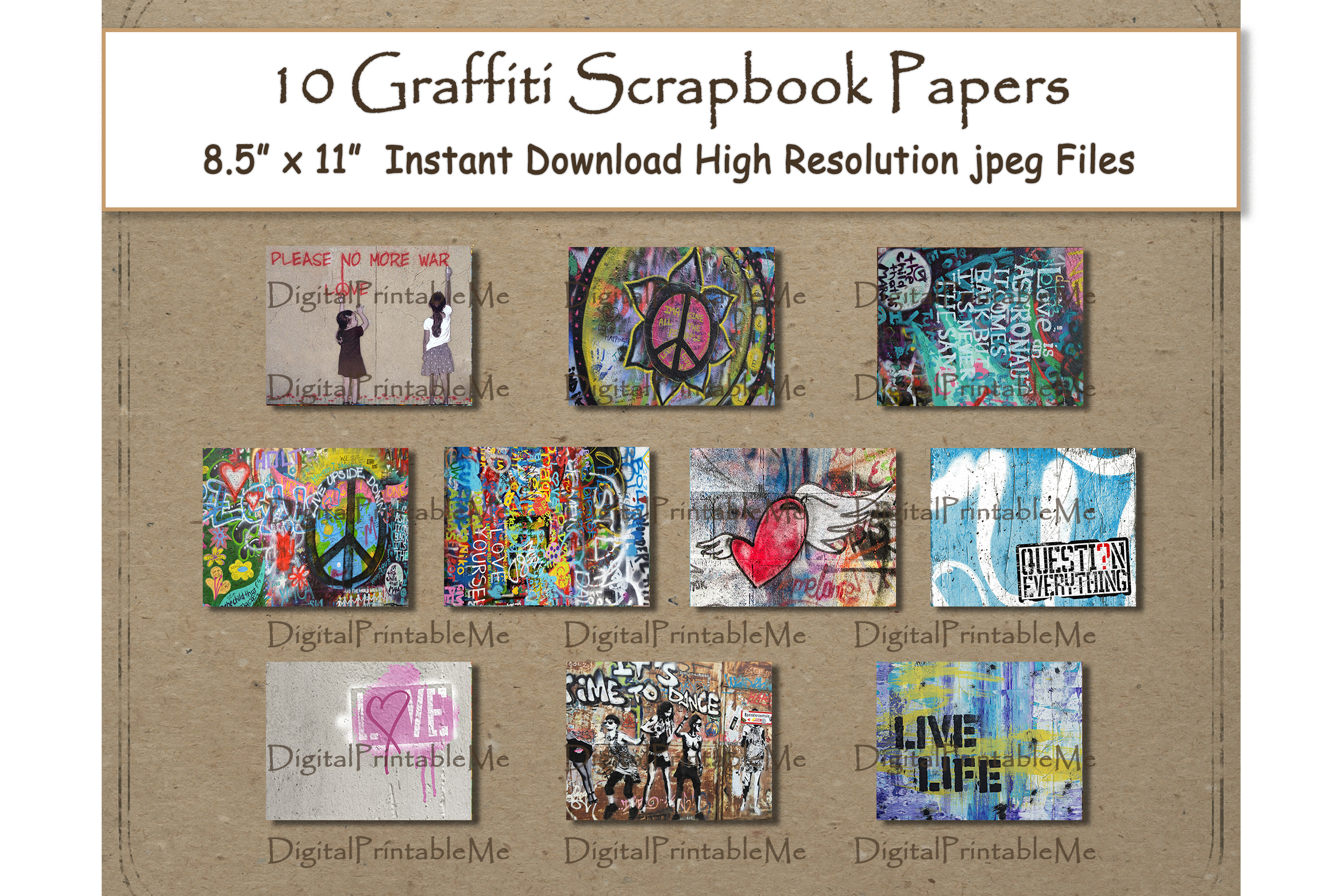 Download Free Graffiti Digital Paper Print 8 5 Graphic By Digitalprintableme SVG Cut Files