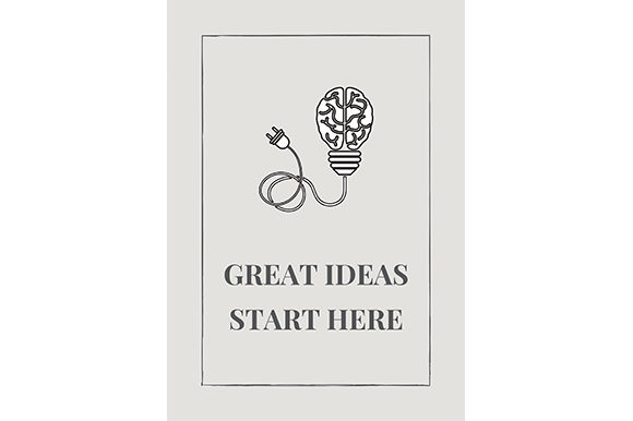 Download Free Great Ideas Start Here Graphic By Renata Vieira Design for Cricut Explore, Silhouette and other cutting machines.