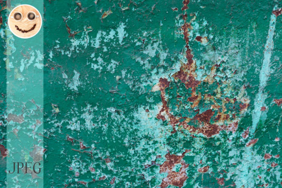 Print on Demand: Green and Blue Cracked Paint Rusted Text Graphic Illustrations By TasiPas