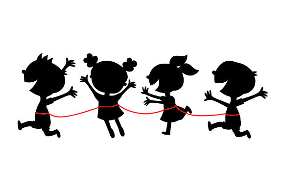 Group of School Children on Leash Kids Craft Cut File By Creative Fabrica Crafts