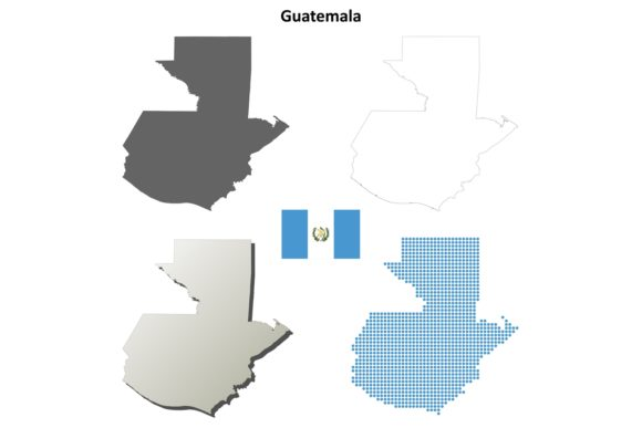 Download Free Guatemala Outline Map Set Graphic By Davidzydd Creative Fabrica for Cricut Explore, Silhouette and other cutting machines.