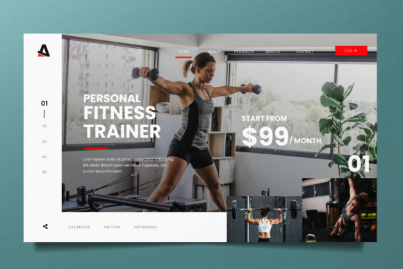 Gym Training Web Header PSD and AI Graphic Landing Page Templates By alexacrib83