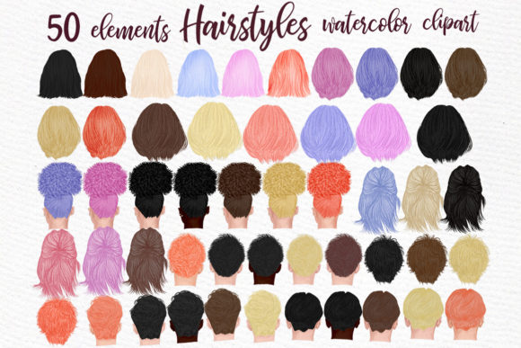 Hairstyles Clipart, Custom Hairstyles Graphic Illustrations By LeCoqDesign