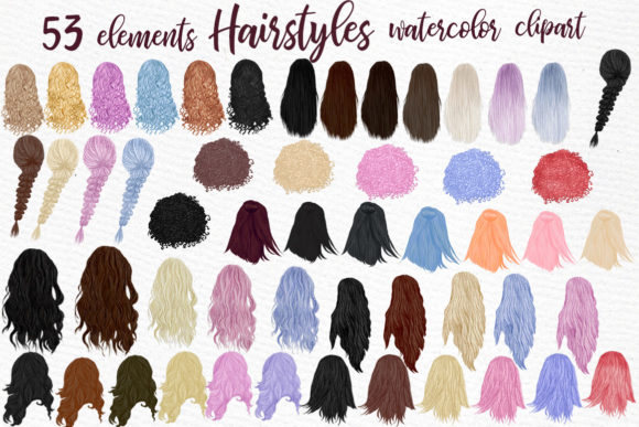 Hairstyles Clipart Grafik Illustrationen von LeCoqDesign