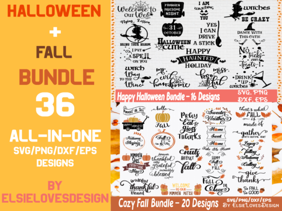 Halloween & Fall Thanksgiving Bundle Graphic Crafts By ElsieLovesDesign