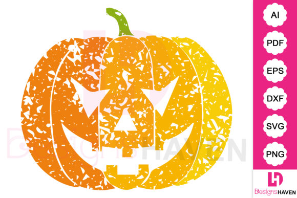 Print on Demand: Halloween Grunge Pumpkin SVG Vector Art Graphic Illustrations By DesignsHavenLLC