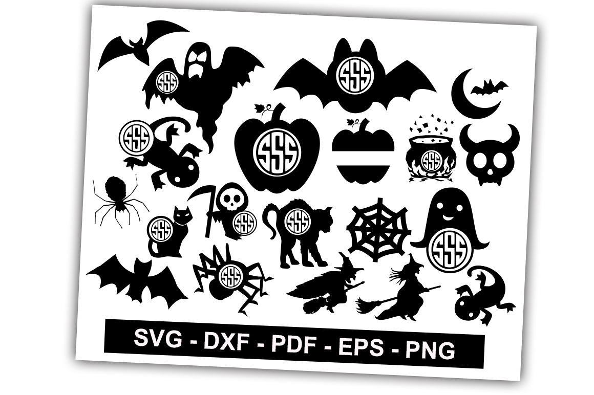 Download Free Halloween Monogram Pack Graphic By Svgbundle Net Creative Fabrica for Cricut Explore, Silhouette and other cutting machines.