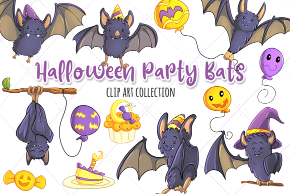Print on Demand: Halloween Party Bats Clip Art Collection Graphic Illustrations By Keepinitkawaiidesign
