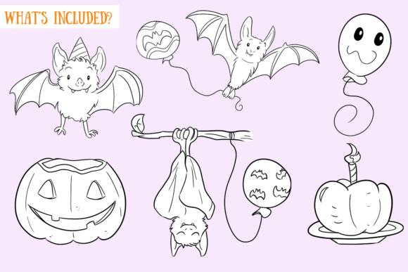 Print on Demand: Halloween Party Bats Digital Stamps Graphic Illustrations By Keepinitkawaiidesign - Image 2