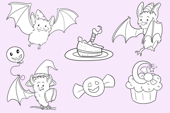 Print on Demand: Halloween Party Bats Digital Stamps Graphic Illustrations By Keepinitkawaiidesign - Image 3
