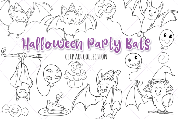 Print on Demand: Halloween Party Bats Digital Stamps Graphic Illustrations By Keepinitkawaiidesign - Image 1