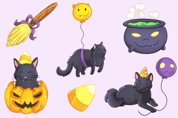 Halloween Party Cats Clip Art Collection