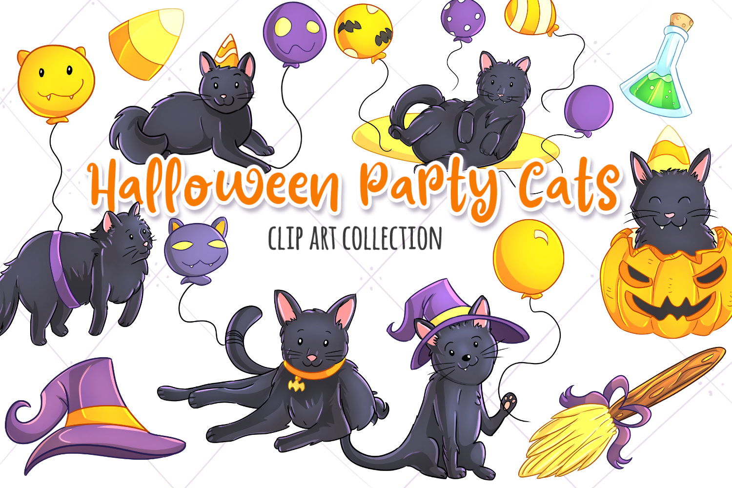 Download Free Halloween Party Cats Clip Art Collection Graphic By for Cricut Explore, Silhouette and other cutting machines.