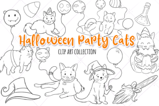 Halloween Party Cats Digital Stamps Graphic By Keepinitkawaiidesign
