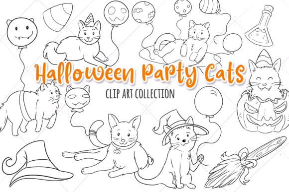 Halloween Party Cats Digital Stamps