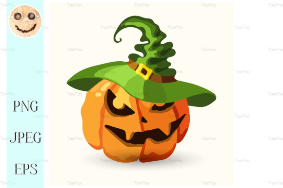 Print on Demand: Halloween Pumpkin Wearing Green Hat Graphic Illustrations By TasiPas