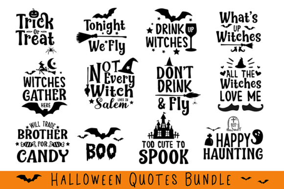Download Free Halloween Quotes Bundle Graphic By Carrtoonz Creative Fabrica for Cricut Explore, Silhouette and other cutting machines.