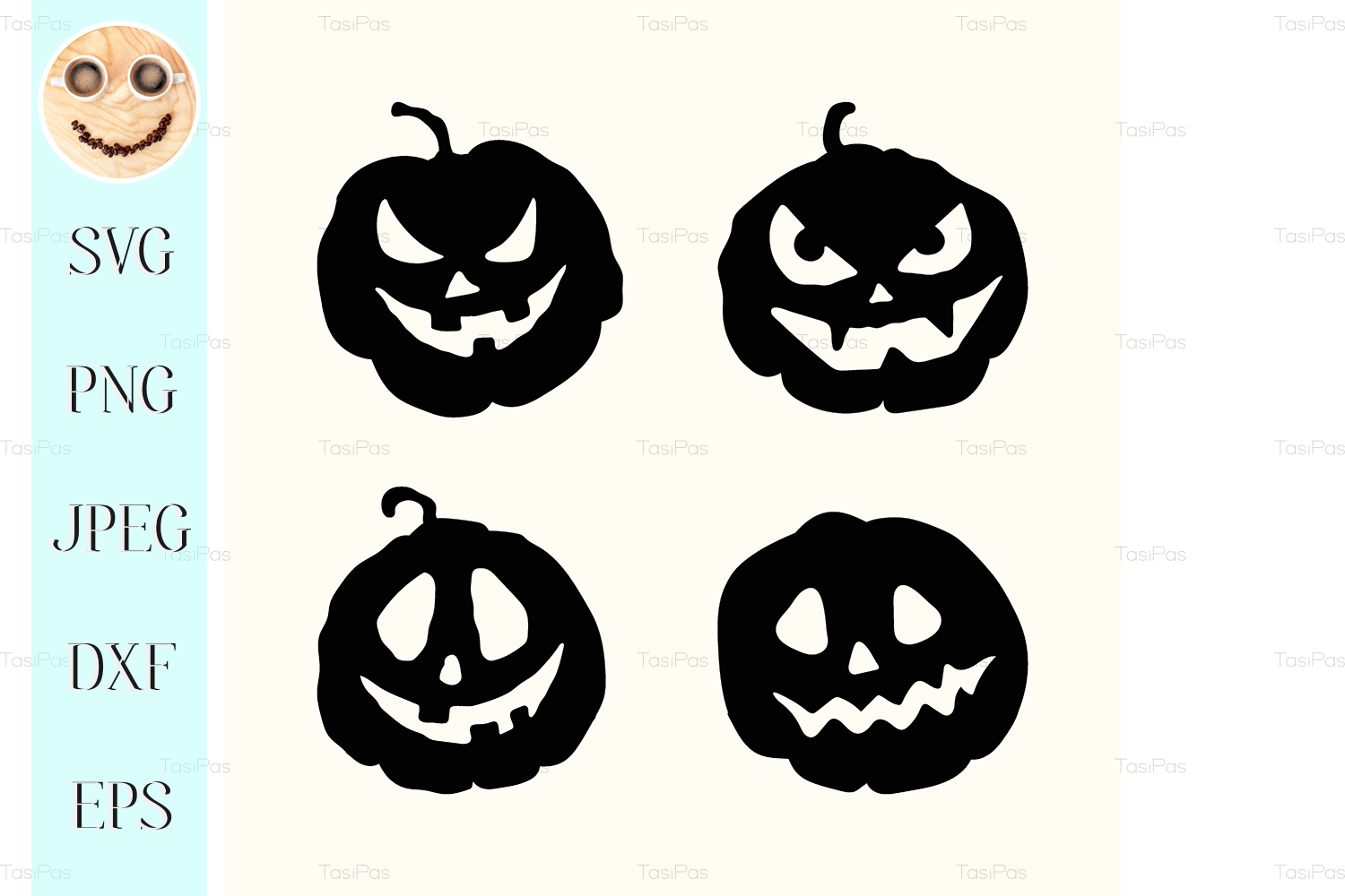 Download Free Halloween Silhouette Spooky Face Pumpkin Graphic By Tasipas for Cricut Explore, Silhouette and other cutting machines.