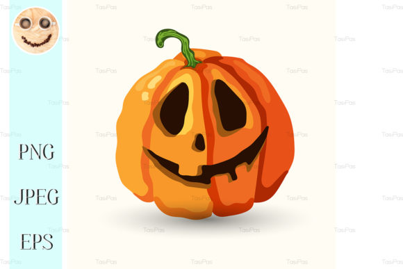 Print on Demand: Halloween Smiling Spooky Face Pumpkin Graphic Illustrations By TasiPas