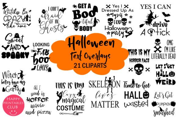 Print on Demand: Halloween Text Overlays Clipart Graphics Graphic Illustrations By Happy Printables Club