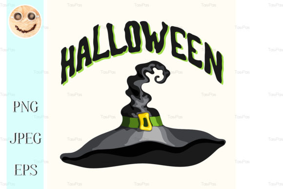 Download Free Halloween Title And Black Witch Hat Graphic By Tasipas for Cricut Explore, Silhouette and other cutting machines.