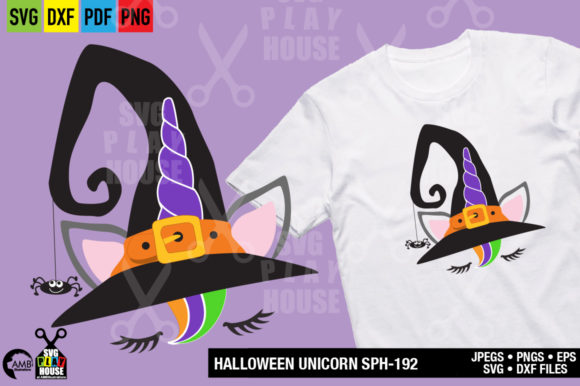 Halloween Witch Hat Unicorn Graphic Crafts By AMBillustrations