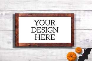 Print on Demand: Halloween Wooden Sign Mock Up-Horizontal Graphic Product Mockups By Mockup Venue