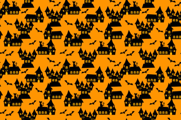Download Free Halloween House Seamless Pattern Graphic By Thanaporn Pinp for Cricut Explore, Silhouette and other cutting machines.