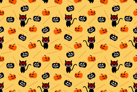 Halloween Pumpkin and Black Cat Seamless Graphic Patterns By thanaporn.pinp