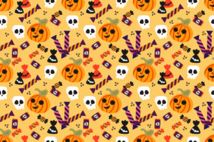 Halloween Pumpkin And Candy Seamless Graphic By Thanaporn Pinp