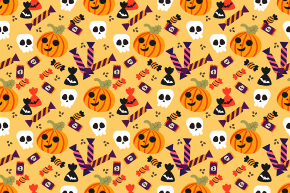 Halloween Pumpkin and Candy Seamless Graphic Patterns By thanaporn.pinp