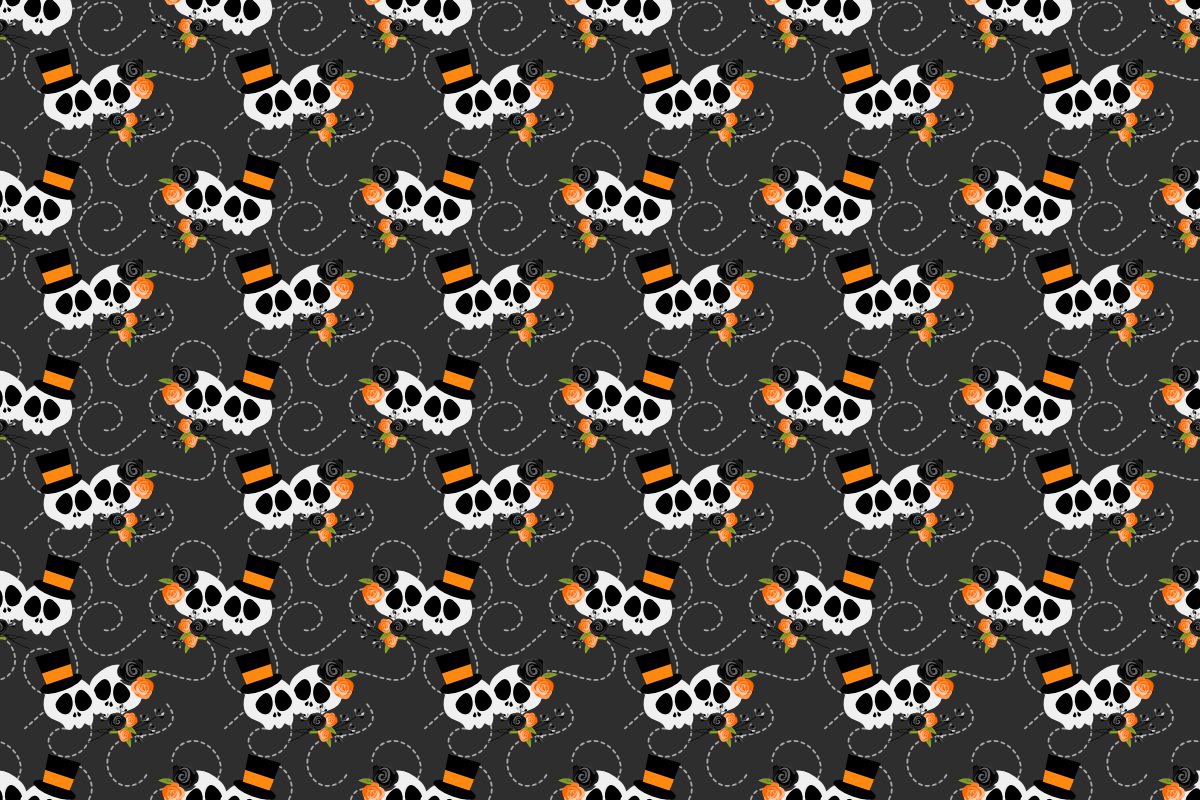 Halloween Skull And Decoration Seamless Graphic By Thanaporn