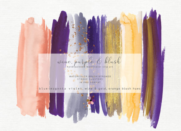 Hand Painted Watercolor Brush Strokes Graphic Textures By Patishop Art - Image 2