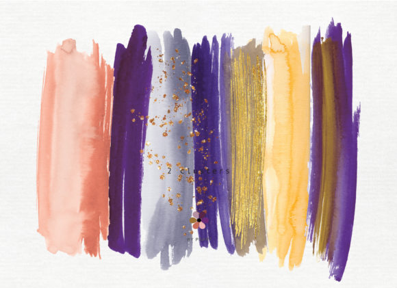 Hand Painted Watercolor Brush Strokes Graphic Textures By Patishop Art - Image 4
