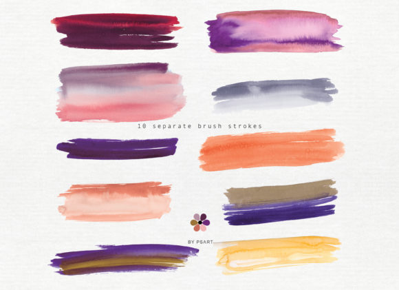 Hand Painted Watercolor Brush Strokes Graphic Textures By Patishop Art - Image 7