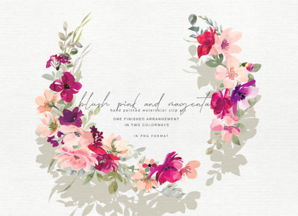 Hand Painted Watercolor Floral Wreath Graphic Illustrations By Patishop Art