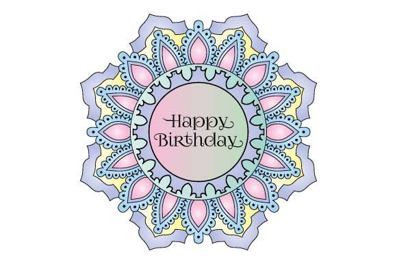 Happy Birthday Mandala Colored Graphic Illustrations By GraphicsFarm