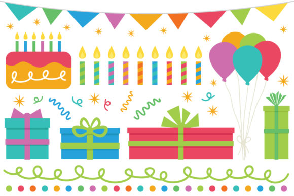 Print on Demand: Happy Birthday Party Clip Art Set Graphic Objects By Running With Foxes - Image 10