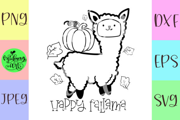 Download Free Happy Fallama Graphic By Midmagart Creative Fabrica for Cricut Explore, Silhouette and other cutting machines.