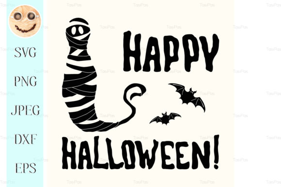 Download Free Happy Halloween Title And Mummy Isolated Grafik Von Tasipas for Cricut Explore, Silhouette and other cutting machines.