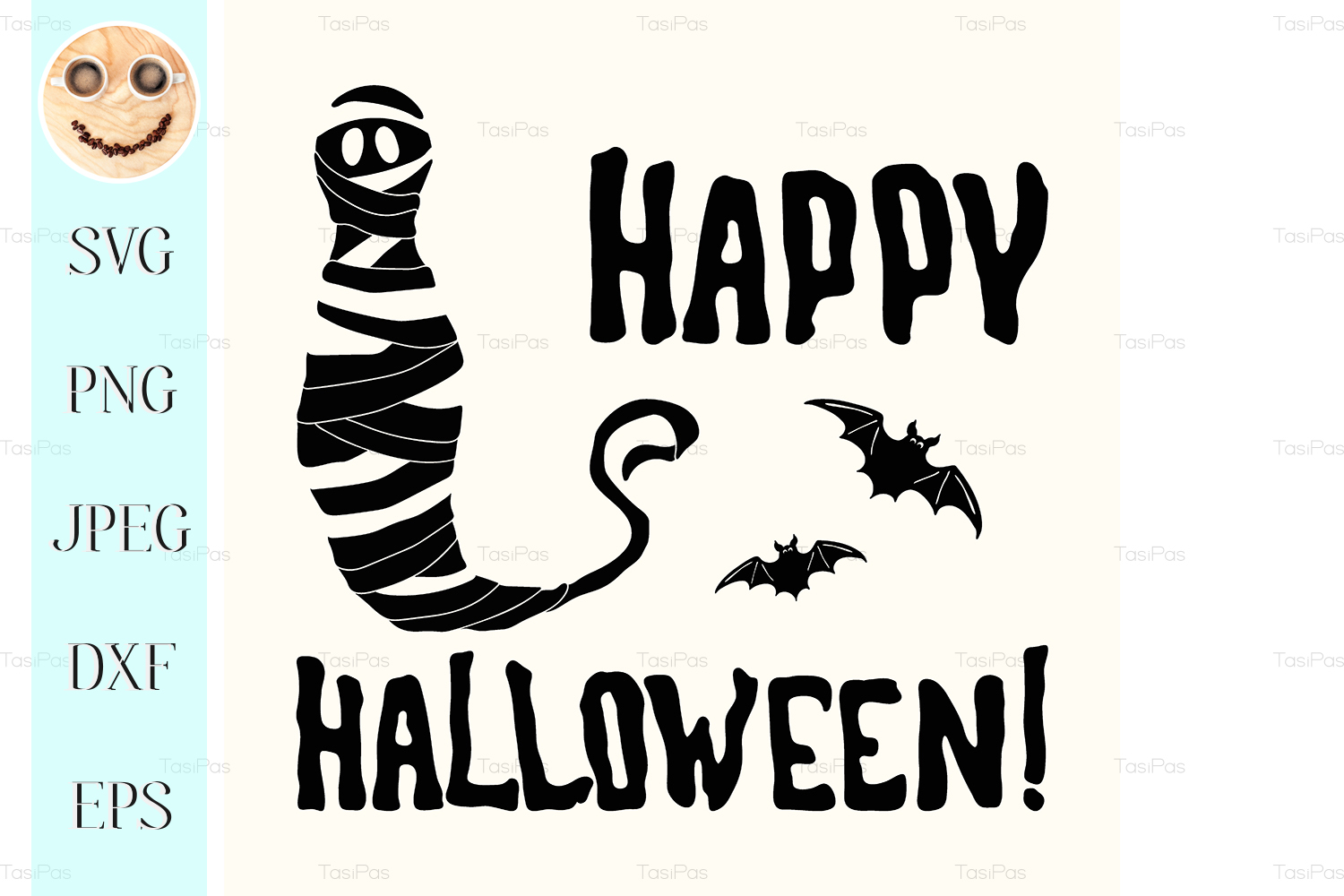 Happy Halloween Title And Mummy Isolated Graphic By Tasipas Creative Fabrica