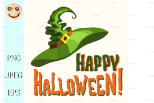 Happy Halloween Title and Witch Hat Graphic By TasiPas