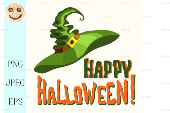 Download Free Happy Halloween Title And Witch Hat Graphic By Tasipas for Cricut Explore, Silhouette and other cutting machines.