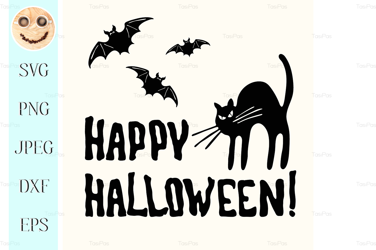 Download Free Happy Halloween Title Graphic By Tasipas Creative Fabrica for Cricut Explore, Silhouette and other cutting machines.