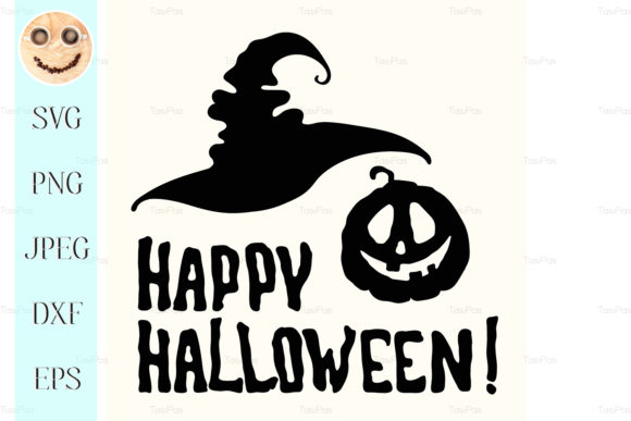 Download Free Happy Halloween Title With Face Pumpkin Grafico Por Tasipas for Cricut Explore, Silhouette and other cutting machines.