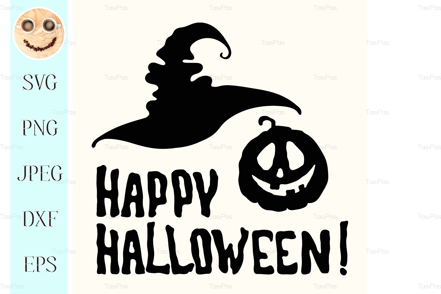 Happy Halloween Title With Face Pumpkin Graphic By Tasipas Creative Fabrica