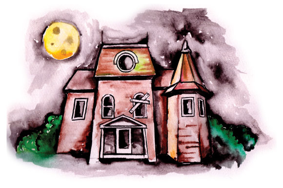 Haunted House with Full Moon in Watercolor Halloween Craft Cut File By Creative Fabrica Crafts