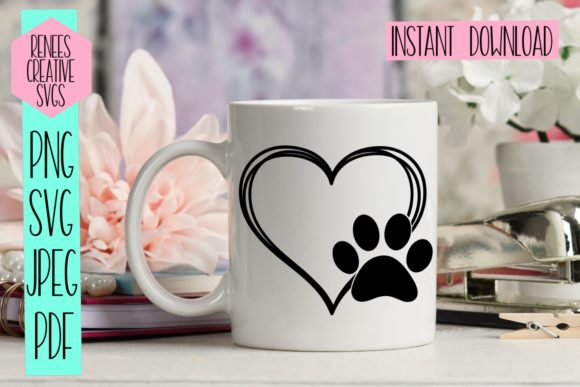 Download Free Heart W Paw Print Graphic By Reneescreativesvgs Creative Fabrica for Cricut Explore, Silhouette and other cutting machines.